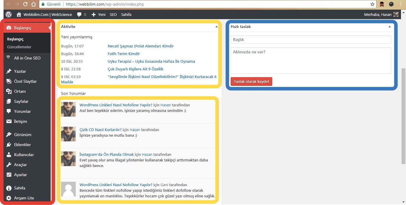 wordpress yonetim paneli webbilim