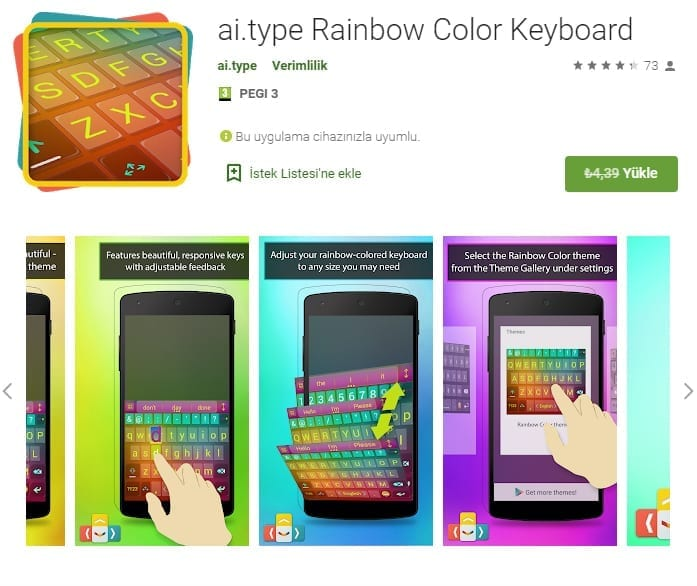 Android ai.type Rainbow Color Keyboard
